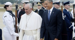 JOINT BASE ANDREWS, MD - SEPTEMBER 22:   (AFP OUT) Pope Francis is greeted by U.S. President Barack Obama after the pontiff's arrival from Cuba September 22, 2015 at Joint Base Andrews, Maryland. Francis will be visiting Washington, New York City and Philadelphia during his first trip to the United States as pope.  (Photo by Olivier Douliery-Pool/Getty Images)